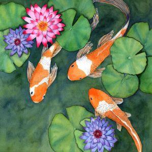 Diane Pope koi fish watercolor