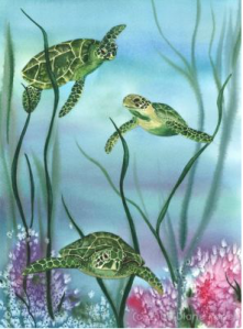 Diane Pope Trio of Turtles watercolor