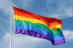 Rainbow flag proudly waving